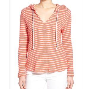 Splendid Meridien Stripe Ribbed Hooded Pullover